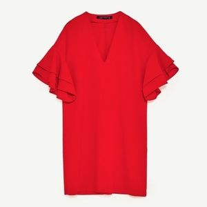 Zara Red Frill Sleeve Size Large